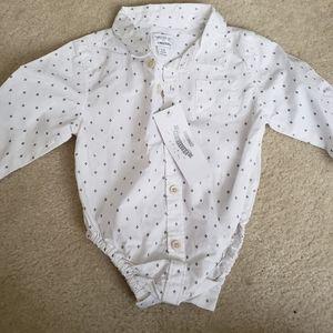 NWT 6-12 months cotton button down onesie
